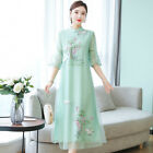 2019 Womens Chinese Vintgae Qipao Dress Embroidery Cheongsam Elegant Hanfu Girls