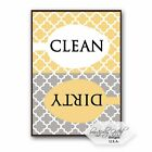 Clean Dirty Dishwasher Magnet Sign - Modern Elegant Moroccan Trellis Pattern - Y