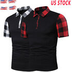 BY:Mens Shirts Short Sleeve Basic Tee Plaid Basic Casual Lapels Male T -Shirt T9 image