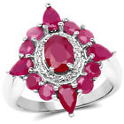 925 Sterling Silver Glass Filled Ruby Ring (3.04 Carat) Multiple Sizes - QTESNT-