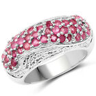 925 Sterling Silver Genuine Ruby and White Zircon Ring (1.81 Carat) Multiple Siz
