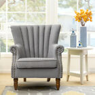 Vintage Large Armchair Fabric Linen Occasional Accent Chair Living Room Fireside