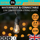 3x 11m/20m S14 Kits Durable Cable Festoon Party String Lights Xmas Party Outdoor