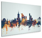 Warsaw Poland Skyline Box Canvas and Poster Blue background (2388)