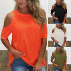 Women Tops Summer Solid Color Casual Blouse Party Round Neck Cold Shoulder