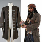 Pirates of the Caribbean Jack Sparrow Suit Cosplay Costume Attire Jacket Coat HH