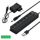 USB 3.0 7 Port Hub 5Gbps High Speed On Off Button AC Adapter Converter For PC