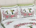 Hummingbird Pillow Shams Floral Bedding Colorful Bed Bedroom Flower Wreath Decor image