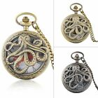 Octopus Steampunk Quartz Movement Antique Vintage Pocket Watch Chain Necklace image