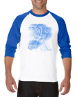 Raglan T-shirt 3/4 Sleeve Sports Hockey Blue Action Shadow Player