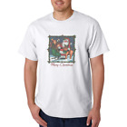 Gildan Cotton T-shirt Merry Christmas Santa Ugly Sweater