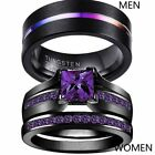 Couple Rings Black Plated TungstenMens Wedding Band Purple Cz Womens Ring Sets image