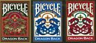 Bicycle Gold Red and Blue Set of 3 Dragon Back Pattern Deck Playing Cards