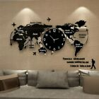 World Map Large Wall Clock Modern Design 3D Hanging Clock Glowing in Dark Decor