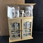 Vintage NEW Wooden Spice Rack With Ceramic Jars Shakers Wall Mount Porcelain