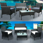 '4 Piece Rattan Garden Furniture Sofa Chairs Table Cushions Set Conservatory Uk