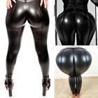 Fashion Womens Faux Leather High Waist Leggings Pants Wet Look Push Hip Up Pants