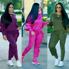 Womens Ruffles Hoodies 2PCS Tracksuit Sweatshirt Tops Pants Sports Wear Jogging