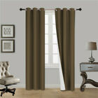 2 PANEL 100% THERMAL BLACKOUT BRONZE GROMMET WINDOW LINED PANEL CURTAIN AAA 84""