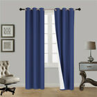 """2 PANEL 100% THERMAL BLACKOUT BRONZE GROMMET WINDOW LINED PANEL CURTAIN AAA 84"""""""