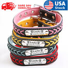 Kyпить Personalized Dog Collar Braided Leather Padded Name ID Tag Engraved Free XS-XL на еВаy.соm