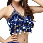 Wuchieal Sequin Halter Bra Top Salsa Belly Dance Boho Festival Tribal Bra