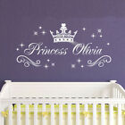 Personalized Princess Name Wall Sticker Custom Baby Girl Royal Crown Star Decal