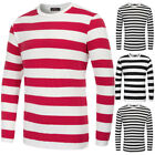 Men's Stylish Striped Pattern Long Sleeve Crew Neck Cotton T-Shirt Tops Oversize