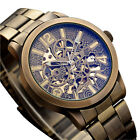 Mens Automatic Mechanical Watch Skeleton Bronze Steampunk Stainless Steel Watch image