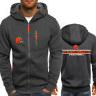 2019 Cleveland Browns Fans Hoodie Sporty Jacket Zipper Coat Autumn Sweater Tops on eBay