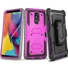 LG Stylo 5 4 3 2 Plus Clip Stand Holster Case Cover w/ BUILT-IN SCREEN PROTECTOR
