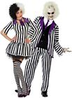 Couples Ladies & Mens Striped Crazy Ghost Film Halloween Fancy Dress Costumes