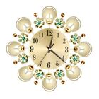 3D Wall Clock,Round Flower Crystal Metal Wall Clock, Dial With Arabic Numer I9I2