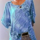 Women's Summer Print Tunic O Neck Short Sleeve Loose Shirts Tops Sexy Lace Casua