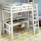 Kids Bedroom Solid Wooden Bed Frame Cabin Bunk Beds High Sleeper with Stair Loft