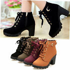 Womens Winter Short Ankle Mid Heel Boots Warm Strappy Heels Boots Lady Shoes