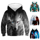 Kids Boy/Girl Animal Wolf 3D Print Hoodie Sweatshirt Pullover Jumper Tops 4-13T