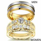 Yellow Gold Filled Couple Rings Tungsten Mens Band CZ Womens Wedding Ring Sets image