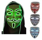 Light Up LED Mask V Vendetta Anonymous Guy Fawkes Halloween Costume Cosplay US
