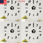 US Wall Clock Watch Large Modern Simple DIY Sticker Decal 3D Roman Numeral Home