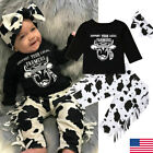 Newborn Baby Girl Boy Cow Tops T-Shirt Tassels Pants Headband Outfits Clothes