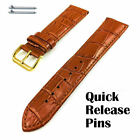 Light Brown Croco Leather Watch Band Strap Belt Gold Steel Buckle #1084 image