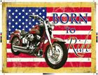 Born to Ride. Harley-Davidson on an American Flag,- Metal/Steel Wall Sign £12.75 GBP on eBay