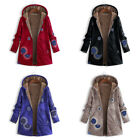 Women's Winter Warm Fleece Lined Hooded Jacket Parka Floral Coat Jacket Outwear