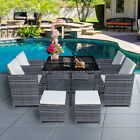8 Seater Cube Rattan Garden Furniture 9 Piece Set Outdoor Patio Dining Table Set