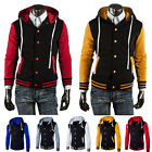 Men Varsity Jacket College University Hoodie Hooded Baseball Coat Uniform Outfit