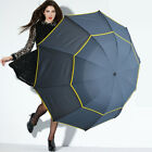 Rain Large Anti UV Double Layer Fast Dry Golf Umbrella Windproof Three Folding