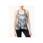 Ideology Womens T-Back Printed Burnout Tank Top Crystal Mist