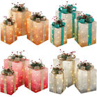 Christmas Tall Light Up Gift Box Decorations with Bow, Set of 3, 43 cm