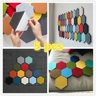5pcs Home Hexagon Felt Wall Sticker Board Decorative Mural Ornament Multicolor